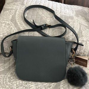 Grey leather flap/zip shoulder purse